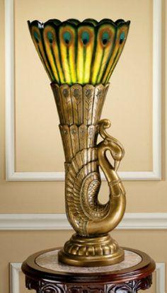 Art Deco Peacock Table Lamp