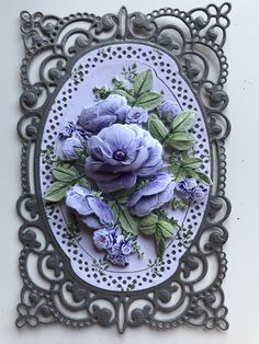 S with unknown frame die and Tattered Lace decoupage flowers.