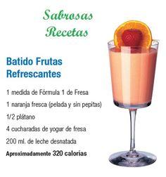 BATIDO FRUTAS REFRESCANTES.- 1 medida de fórmula 1 de sabor Fresa. 1 naranja fresca (pelada y sin pepitas). 1/2 plátano. 4 cucharas de yogurt de fresa. 200 ml. de leche desnatada. APROXIMADAMENTE 320 CALORIAS http://www.jpcdesayuno.blogspot.com/