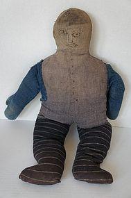 Big early folk art denim black doll stuffed with rags and cotton