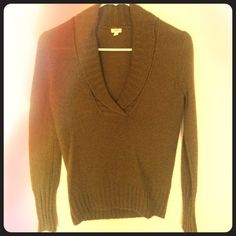 J Crew Olive Green Sweater JCREW sweater, soft & cozy olive green V neck - only worn one time - please ask if you'd like more pictures !!!  J. Crew Sweaters