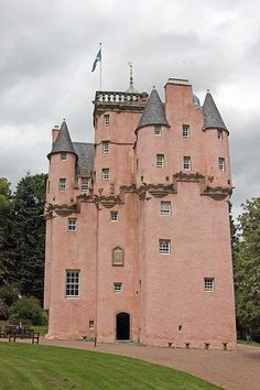 Craigievar Castle is a pinkish harled castle six miles south of Alford, Aberdeenshire, Scotland