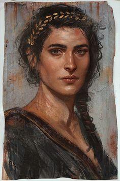 Fayyum mummy portrait of Kassandra, from Assassin's Creed Odyssey. Art by: Dian… - Örgü Modelleri Assassins Creed Art, Assassins Creed Odyssey, Character Portraits, Character Art, L'art Du Portrait, Art Graphique, Painting & Drawing, Character Inspiration, Fantasy Art
