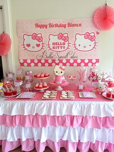 Hello Kitty Birthday Party cute table idea maybe kids could