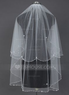 Wedding Veils - $18.69 - Two-tier Fingertip Bridal Veils With Beaded Edge (006039833) http://jjshouse.com/Two-Tier-Fingertip-Bridal-Veils-With-Beaded-Edge-006039833-g39833