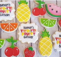 Two-tti Fruity Birthday Cookies - Hayley Cakes and Cookies 2nd Birthday Party For Girl, Fruit Birthday, Second Birthday Ideas, First Birthday Cookies, Watermelon Birthday, Fruit Party, Tutti Frutti, Birthday Party Decorations, First Birthdays