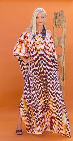 Lotta Stensson Gold Feather Boatneck Kaftan Dress! Elegant for any occasion... #lottastensson #lottanyc #fashion #beachwear #resortwear #lottalove