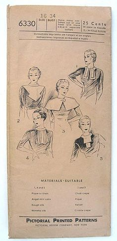 Vintage 30s Five Flattering Collars. Pictorial Review 6330 Sewing Pattern. Size 16