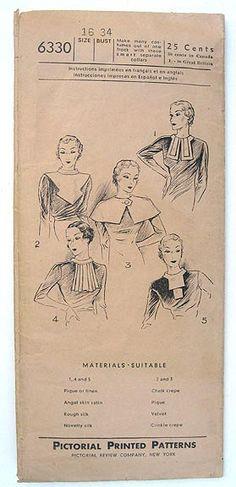 1930s Five Flattering Collars | Pictorial 6330
