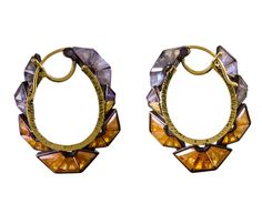 Nak Armstrong Mosaic Ruffle Hoop Earrings, $2,860; twistonline.com   - ELLE.com