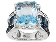 Glacier Topaz (Tm) 8.59ct,Barehipani Topaz (Tm) 3.23ctw And .06ctw Blue Diamond Sterling Silver Ring