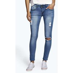 Boohoo Blue Hannah Distressed Knee Rip Skinny Jeans ($35) ❤ liked on Polyvore featuring jeans, blue, high-waisted skinny jeans, high rise skinny jeans, high waisted ripped jeans, distressed boyfriend jeans and ripped skinny jeans