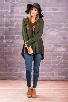 """""""All I Ever Plaid Top, Olive""""We know you are going to fall fast for this top! It's not only is warm and toasty it's also super trendy! The plaid inserts give this top a little extra flare and we know you love the slight cold shoulder detail! #newarrivals #shopthemint"""