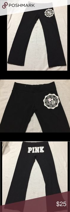 """Pink Victoria Secret Black Lounge Sweatpants In preowned condition with minor fading and one small pin drop paint to right upper front thigh and cracking of the letter """"N"""" on back.  Still fits well and looks great on. Smoke and pet free home. PINK Victoria's Secret Pants"""