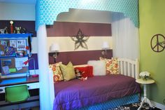 My Daughter's Bedroom, Tween girl's room. Bold stripes and canopy daybed. Cool mural., Girls' Rooms Design