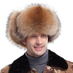 Brand: URSFUR Genuine Fox Fur trim silky fluffy fur Authentic Leather exterior and ties on ear flaps Front brim is secured with snap button closure Adjustable straps with metal buckles,putting earflaps at the top or under the chin Winter Wear For Men, Mens Winter, Trooper Hat, Funny Photoshop Pictures, Russian Men, Fur Fashion, Style Fashion, Winter Fashion, Mens Fur