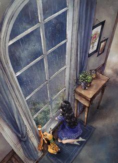 Rainy Wallpaper, I Wallpaper, Autumn Illustration, Manga Illustration, Korean Photography, Art Photography, Vivre Seul, Alone Girl, Forest Girl