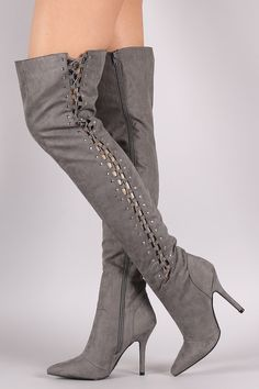 Qupid Suede Studded Lace Up Over-The-Knee Stiletto Boots