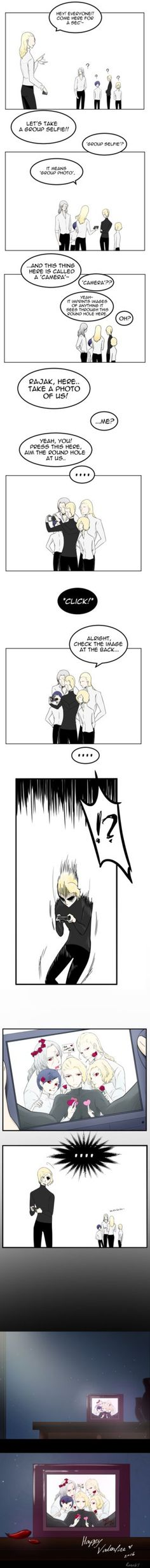 I hope i m not too late on this ;w; remember the day when Yuna took a photo of Frankenstein in the old chapters? he did a quick pose and Yuna and Suyi didnt notice~ from there i thought maybe these...