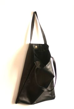 Black Leather Tote Bag  Tote bag  Black by Creazionidiangelina, $115.00