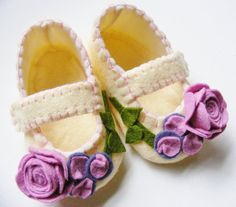 Baby Girl Shoes, Felt Baby Booties, Cream and Pink Violet Roses. This may be purchased on ecovolvenow.com
