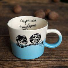 Bird Mug, Blue Cup, Owl Mug, Romantic Cup, Boyfriend Gift Mug, Coffee Drinking, Tea Loving, Inspirational Mug, Motivational Cup, Porcelain