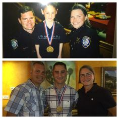 Then and Now:   2002 - Officer Bryan Sterkel, 6-year-old Dylon Walter, Lt. Diana Bishop   July 2015 - Officer Bryan Sterkel, Adult Dylon Walter, and San Rafael Police Chief Diana Bishop at Riley Walter's Academy Graduation