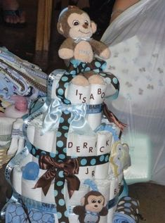 Monkey diaper cake by rosemarie