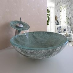 Bathroom Sink Set,Tempered glass Vessel Sink With Waterfall Faucet,Mounting Ring and Water Drain - USD $ 206.99