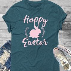 Excited to share this item from my shop: Hoppy Easter Short-Sleeve T-Shirt - Easter Shirt, Hoppy Easter Shirt, Women's Easter Shirt, Easter Top, Ladies Easter Shirt Tank Top Shirt, T Shirt, Spring Shirts, Hoppy Easter, Direct To Garment Printer, Shirt Style, Cotton Fabric, Shirt Designs, Sleeves