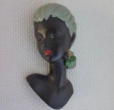 Wandkopf  S.melani Ohrring sehr selten Kopf Keramik Cortendorf Wandmaske 50er
