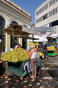 Selling fruits at Flea Market in Monastiraki Square, Athens_ Greece