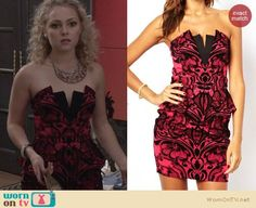 Carrie's pink and black lace strapless dress on The Carrie Diaries.  Outfit Details: https://wornontv.net/25129/ #TheCarrieDiaries