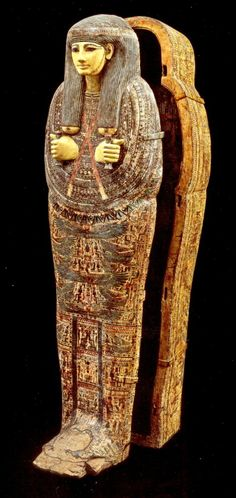 Egyptian Anthropoid Wood Polychrome Sarcophagus - Dynasty 21, ca. 1090-945 BC, H: 71.5 in. - Ex Olof Arrhenius (1896-1977), acquired 1925-1928
