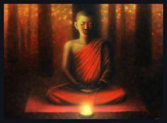 Painting of a meditating Thai Buddhist monk.