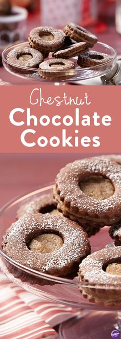 Chestnut Chocolate Cookies Recipe - Your favorite new cookie flavor - rich chestnut cream sandwiched between two delicious chocolate cookies. Perfect dessert to serve especially during the holiday season.