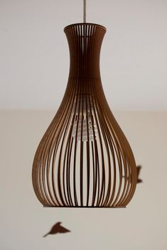 Porcelain-inspired laser cut wooden lampshade by baraboda on Etsy
