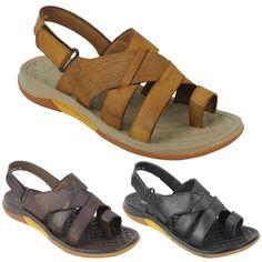 665e80ddb8ba Mens Soft Leather Gladiator Sandals Adjustable Strap Toe Grip Slider Black  Brown