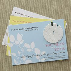 You Mean The World To Us Plantable Ornament Card -- Not what I have planned for favors, but is pretty darn cute!