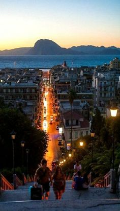 Late Evening in the Port City of Patras, Greece