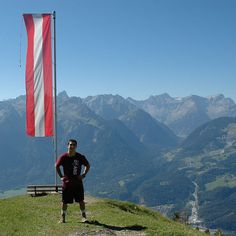 Missouri State University student Joey Guy sports his maroon and white on Mt. Muttersberg in Bludenz, Austria.