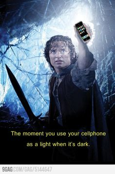 This was me tonight, sans giant spider (thank God), although my phone is crap and won't light up like the Light of Eärendil.