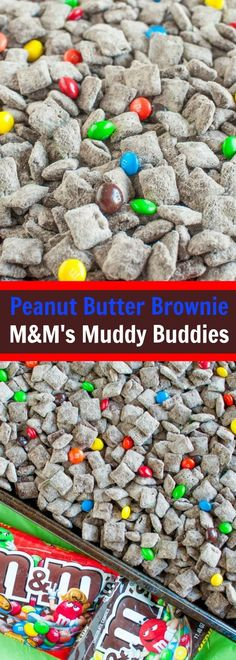 Peanut Butter Brownie M&M'S® Muddy Buddies are the perfect party snack to munch on during the big game or your favorite movie. Quick, easy, and irresistible! Puppy Chow Recipes, Snack Mix Recipes, Yummy Snacks, Delicious Desserts, Healthy Snacks, Snack Mixes, Healthy Protein, Protein Snacks, Candy Recipes