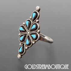 Native American Vintage Zuni Sterling Silver Needle Point Turquoise Cl – Gold Stream Boutique