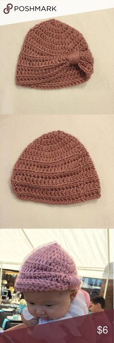 Handmade baby hat/beanie Pretty dusty rose color beanie. Cute knot on the side makes for a beautiful accessory Handmade Accessories