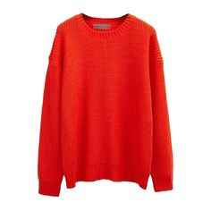 Plain Pull Over Round Neck Sweater (8.408 BHD) ❤ liked on Polyvore featuring tops, sweaters, red sweater, round neck top, round neck sweater and red top