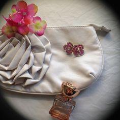 HPPink Flower Earrings w/Rhinestones BNWT Cute pink flower earrings with clear rhinestones. MC's Boutique Jewelry Earrings
