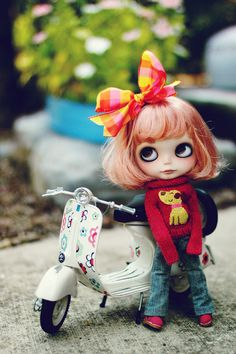 Blythe Doll- I love her vespa and sweater! ; w;