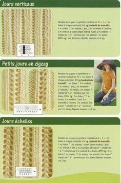15 jours verticaux Plus Knitting Stiches, Knitting Charts, Loom Knitting, Knitting Patterns Free, Knit Patterns, Knitted Hats, Knit Crochet, Stitch, Sewing