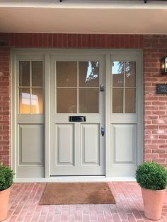 Our bespoke timber doors are perfect for period properties or modern homes, available in numerous wood types, colours and finishes to suit your liking. Porch Doors Uk, Front Door Porch, Front Porch Design, House Front Door, House Entrance, Porch Designs Uk, Garage Doors Uk, Timber Front Door, Front Doors With Windows